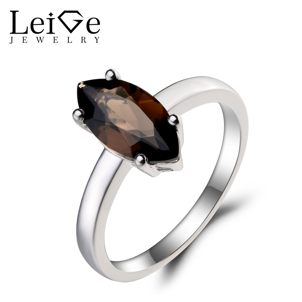 Leige Jewelry Natural Smoky Quartz Ring Anniversary Ring Solitaire Ring Marquise Cut Brown Gems 925 Sterling Silver Ring Gifts цена