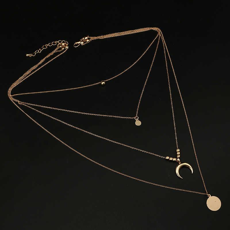 Docona בציר זהב צבע קרנות חרוזים תליון שרשראות לנשים מתכת רקיק שכבות שרשרת Boho תכשיטי קולרים 6175