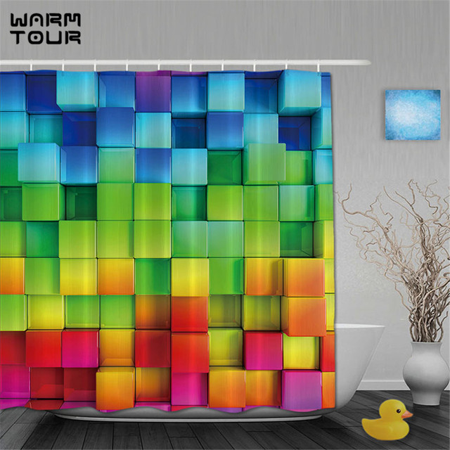 WARM TOUR 3D Printing Shower Curtains Rainbow Square Shower Curtain ...