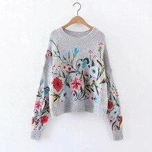 [GUTU] 2017 Hàn Quốc Autumn winter fashion new màu rắn vòng cổ áo full sleeve loose thêu áo len phụ nữ V74702