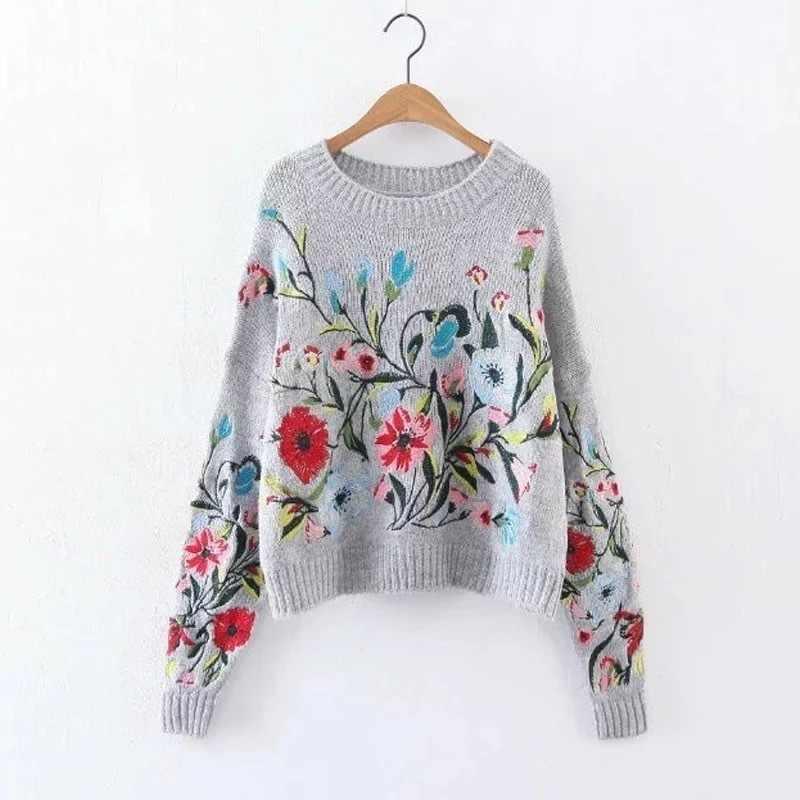 [GUTU] 2017 한국어 가을 겨울 패션 새로운 단색 라운드 칼라 전체 소매 느슨한 자수 스웨터 여성 V74702