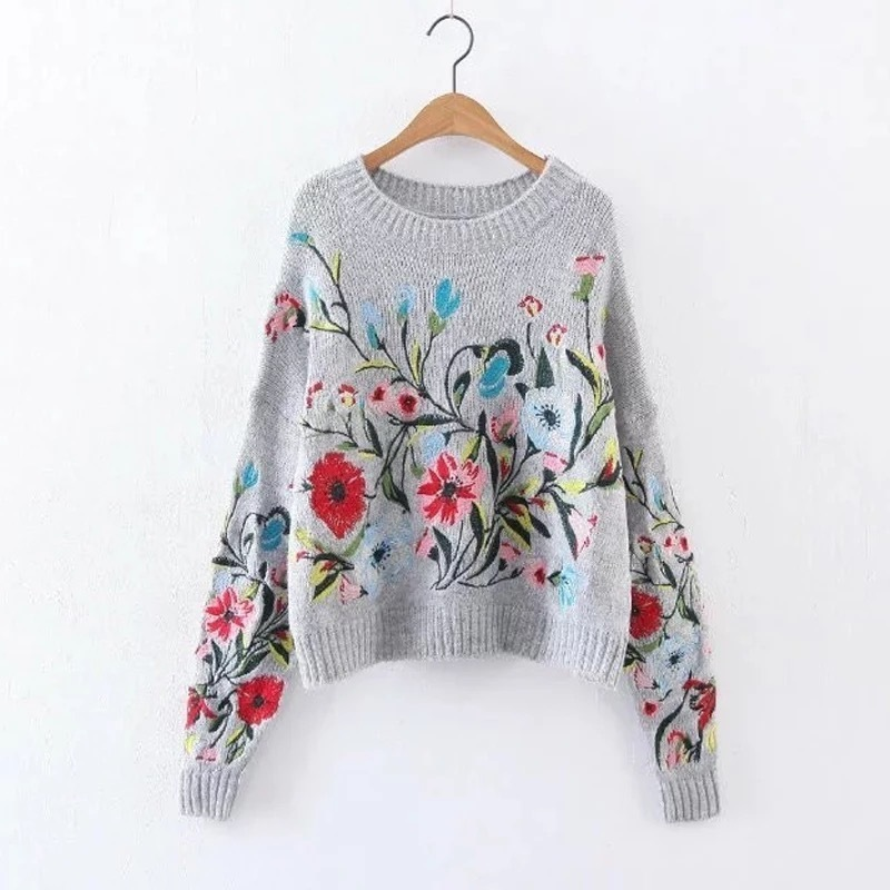 LANMREM 2020 Korean Autumn Winter Fashion New Solid Color Round Collar Full Sleeve Loose Embroidered Sweater Women V74702