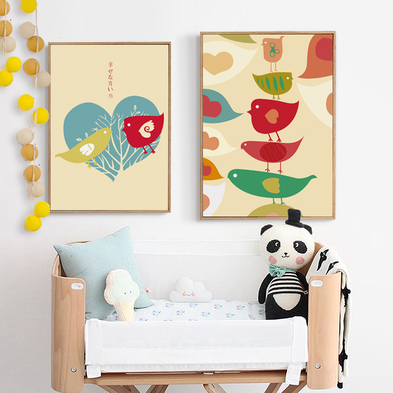 Us 2 01 33 Off Japanese Simple Art Painting Sweet Happy Birds Canvas Painting Art Print Poster Picture Wall Painting Home Bedroom Decor In Painting