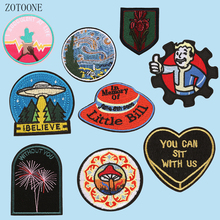 ZOTOONE Creative Patches on Clothing Embroidered for Clothes Circle Badges Applique Garment Iron Stickers Decors E
