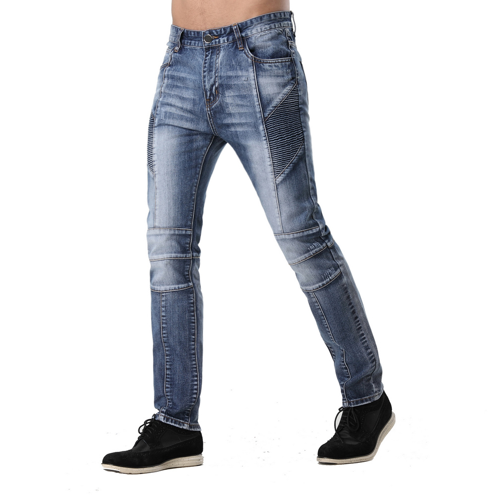 2016 Men's Ripped Biker Jeans Washed Light Blue Denim Runway Slim New Distressed Fashion Motorcycle Hip Hop Urban Jeans ZY-1001