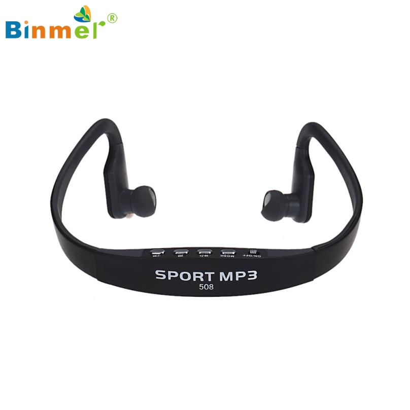 Binmer Wireless Portable Mp3-player Card FM Stereo Radio USB MP3 Sports Headset Earphone 51111 Drop Shipping High Quality