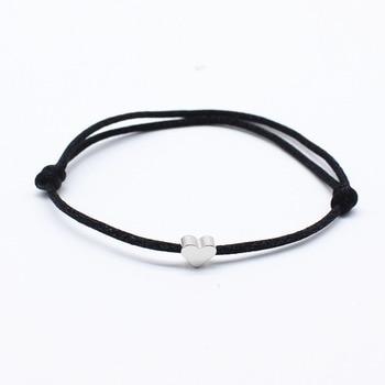 NEW Simple Charm Bracelet black color Minimalist Adjustable Rope String Lucky Bracelet heart star For Women lovers bead jewelry 2