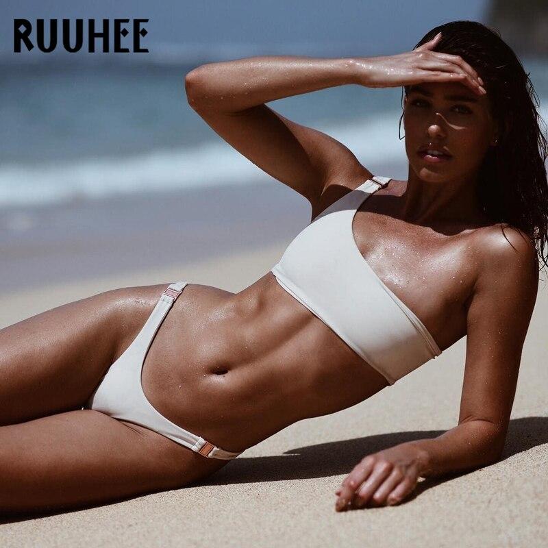 RUUHEE 2019 Bikini Swimwear Women Swimsuit One Shoulder Bathing Suit Women Bikini Set Push Up Female Summer Beach Wear Biquini