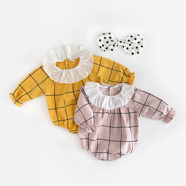Nova Nascidos Macacão Menina Xadrez Gêmeos Romper Primavera Meninos de Algodão Roupas Para Meninos Criança Bebe Macacão Marca Luva Cheia Amarela/rosa