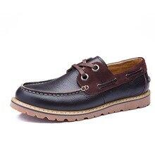Качество Мужские туфли из натуральной кожи британский стиль Кружево на шнуровке Повседневная водонепроницаемая обувь Для мужчин Демисезонный zapatoas Hombre Для мужчин; повседневные туфли на плоской подошве