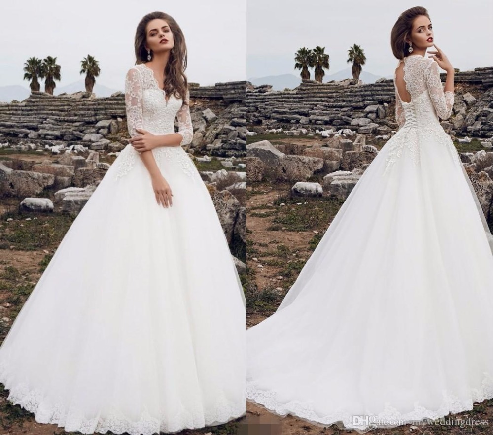 Cheap Plus Size Ball Gown Wedding Dresses: 2017 Plus Size Cheap Ball Gown Wedding Dresses Long Sleeve