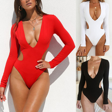 FXBIKINY 2019 Sexy Deep V Neck Solid Swimsuit One Piece Women Backless Swimwear High Cut Thong Bathing Suit Female Monokini XL