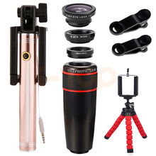 Wholesale prices Universal Mobile lenses Kit 8X Telephoto Zoom Lens Wide Angle Macro Fisheye Lentes Telescope Mobile Tripod For Xiaomi Smartphone