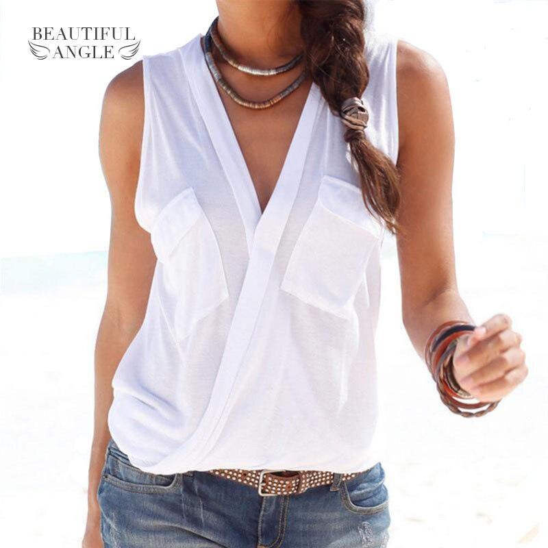 Fashion 2018 Hot Summer Women Vest Top Sleeveless Patch Pocket Blouse  Casual Tank Tops T-Shirt Cover up Femme Blusas 105b73a9e