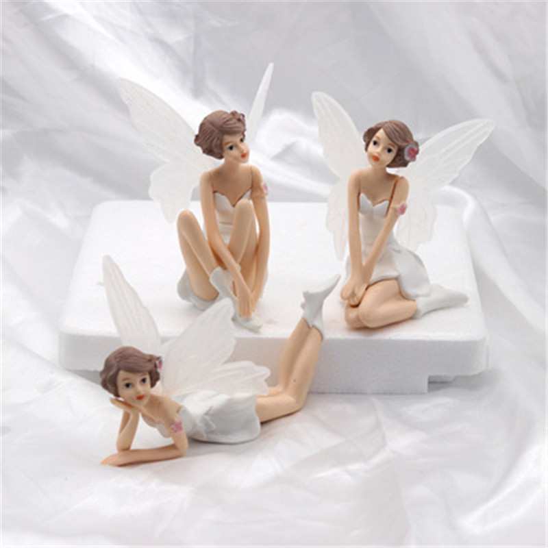 3PC Flying Flower Fairy Garden DIY Miniature White Angel Flower Ornaments Home Decoration Cartoon Gifts Toys For Children