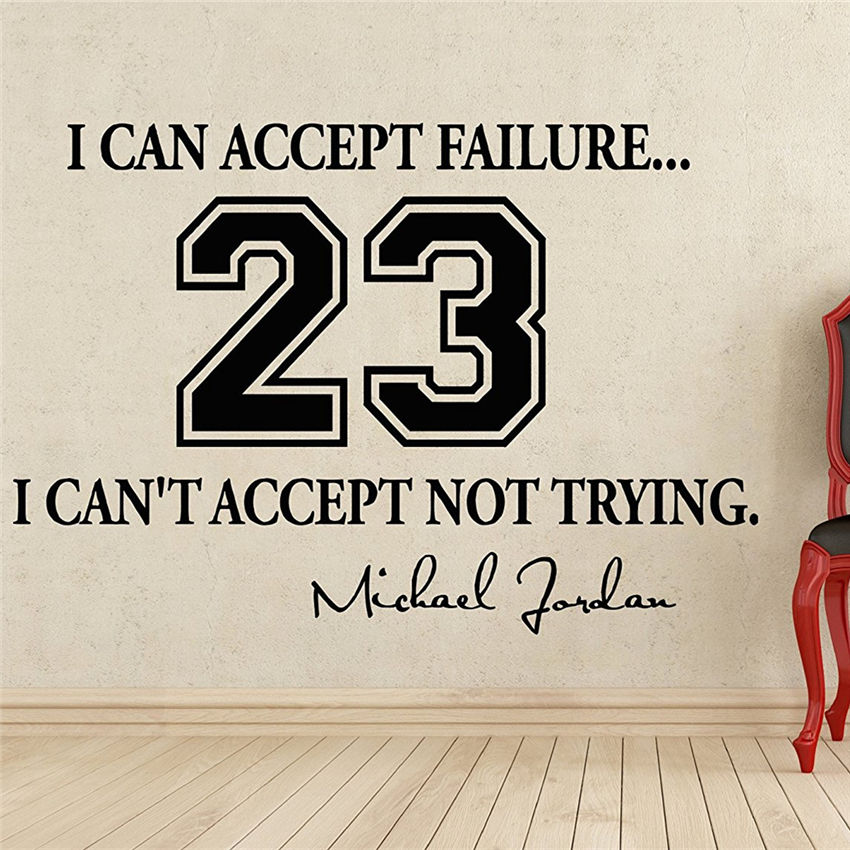 Michael Jordan Quote Wall Decal Vinyl Sticker Wall Decor Removable Waterproof Decal Home Decor Wall stickers M868