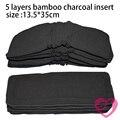 1 UNID pañal de Tela Pañal Reutilizable 5 Capas de Bambú Del Carbón de Leña Insert Uso, Venta Al Por Mayor