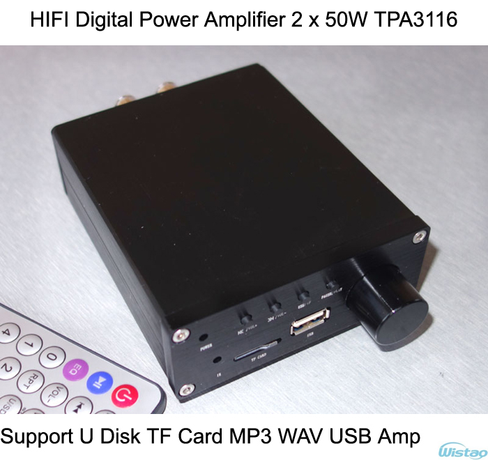 IWISTAO HIFI Digital Amplifier Stereo Audio 2x50w Support U Disk TF Card MP3 WAV Remote Control 8-320Kbps USB Amp Free Shipping adjustable bass treble two divider hifi module game pwm modulation digital amplifier for speaker audio crossover repair parts