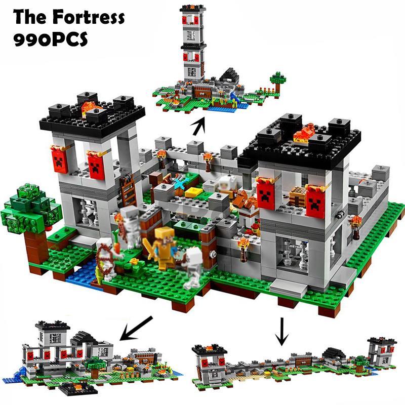 10472 Minecrafted крепость Совместимость с Lego 21127 блок набор кирпича мой мир развивающие игрушки хобби для детей