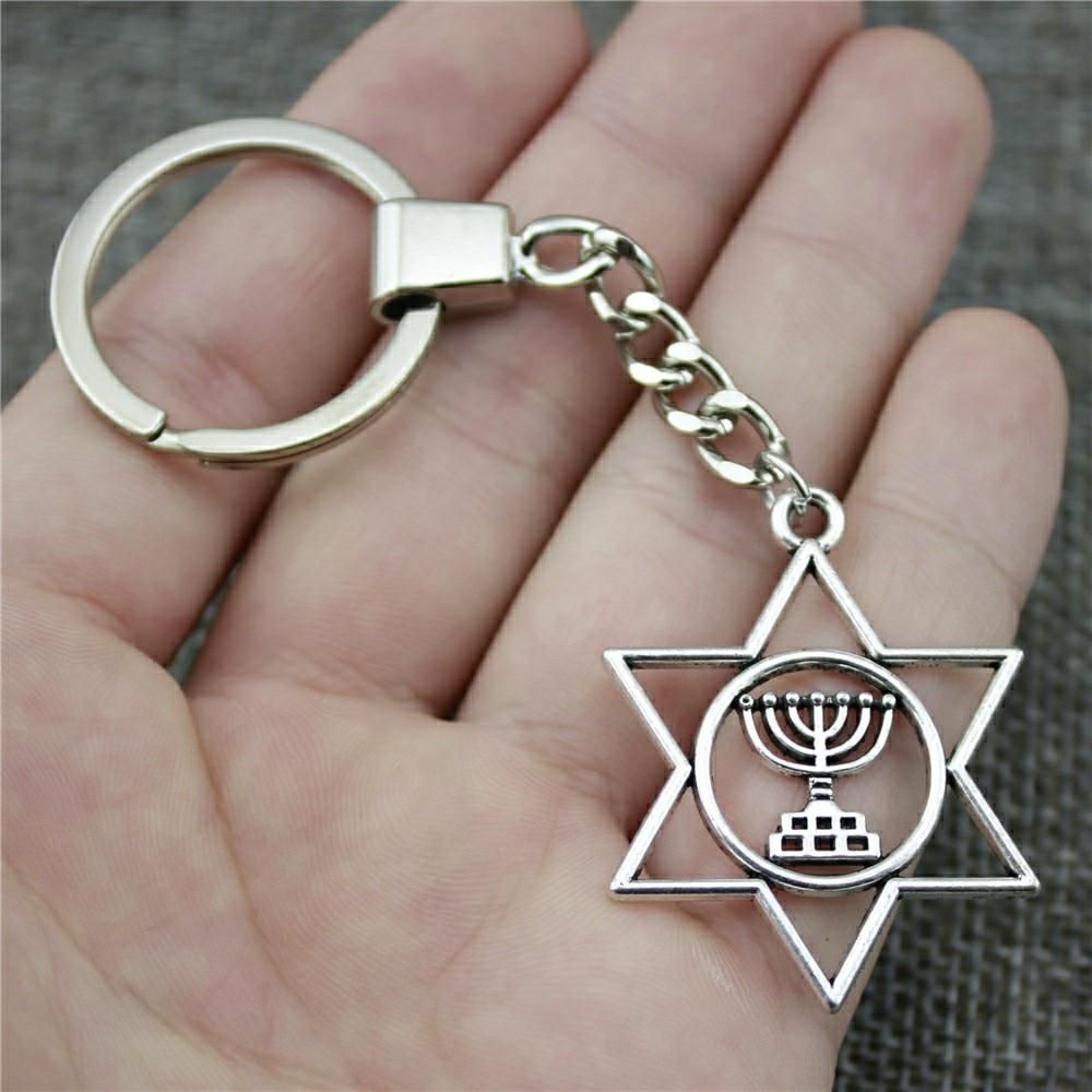 Men Jewelry Key Chain Party Gift Keychains Dropshipping Jewelry 39x32mm Judaism Menorah Star Of David