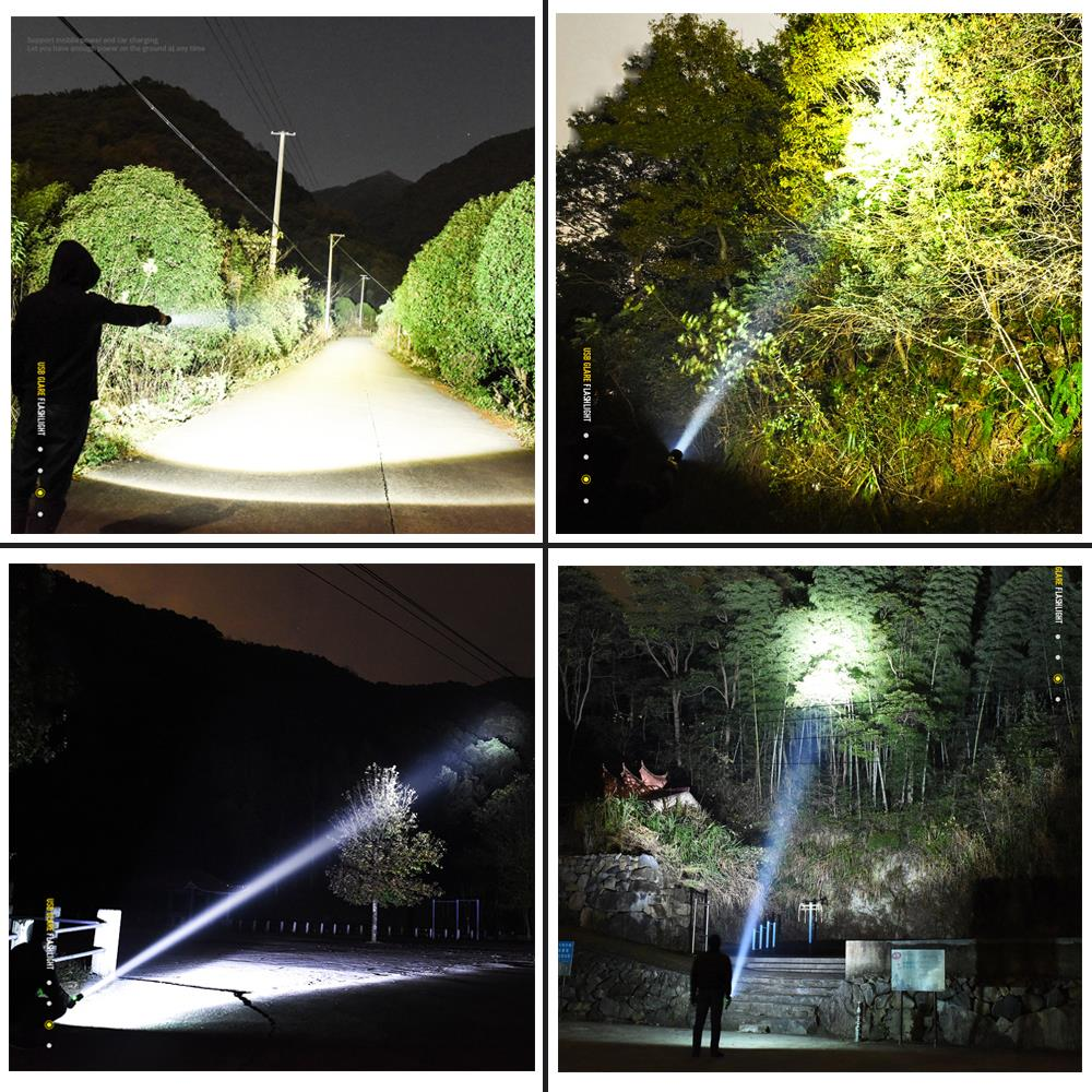 Купить с кэшбэком Powerful LED Flashlight Use XHP 70/XHP 50 Lamp Beads 5 Lighting Mode Supports Zoom Lighting distance is greater than 500M