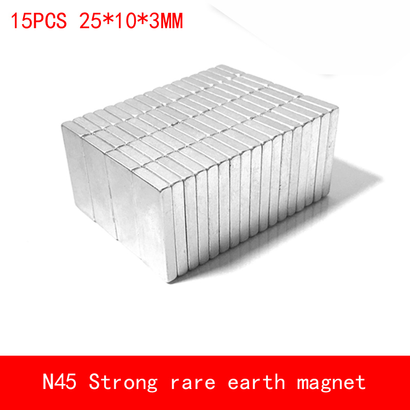 15PCS 25 10 3mm N45 Strong permanent rare earth neodymium magnet plating Nickel 25X10X3MM in Magnetic Materials from Home Improvement