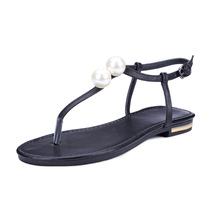 2017 Summer New Genuine Leather Rome Women Flat T-strap Thong Pearl Decoration Sandals Shoes