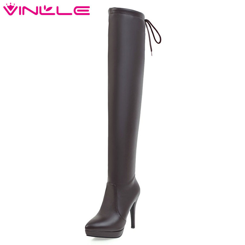 VINLLE 2018 Women Shoes PU leather Thin High Heel Black Over The Knee Boots Winter Ladies Motorcycle Shoes Size 34-43