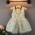 Nova Marca Menina Vestido Floral Impressão vestido de Princesa Crianças Vestido de Bebê Meninas Vestidos de Meninas Crianças Vestido de Verão