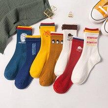 Дизайн, теплые милые носки в стиле Харадзюку с изображением печенья, креативные женские носки с буквенным принтом, Kawaii Skarpetki Sokken