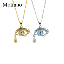 Molinuo Fashion Pave CZ Stone Evil Eyes Tear Drop Pendant Necklace Eyelashes Charm Chain Woman Jewelry