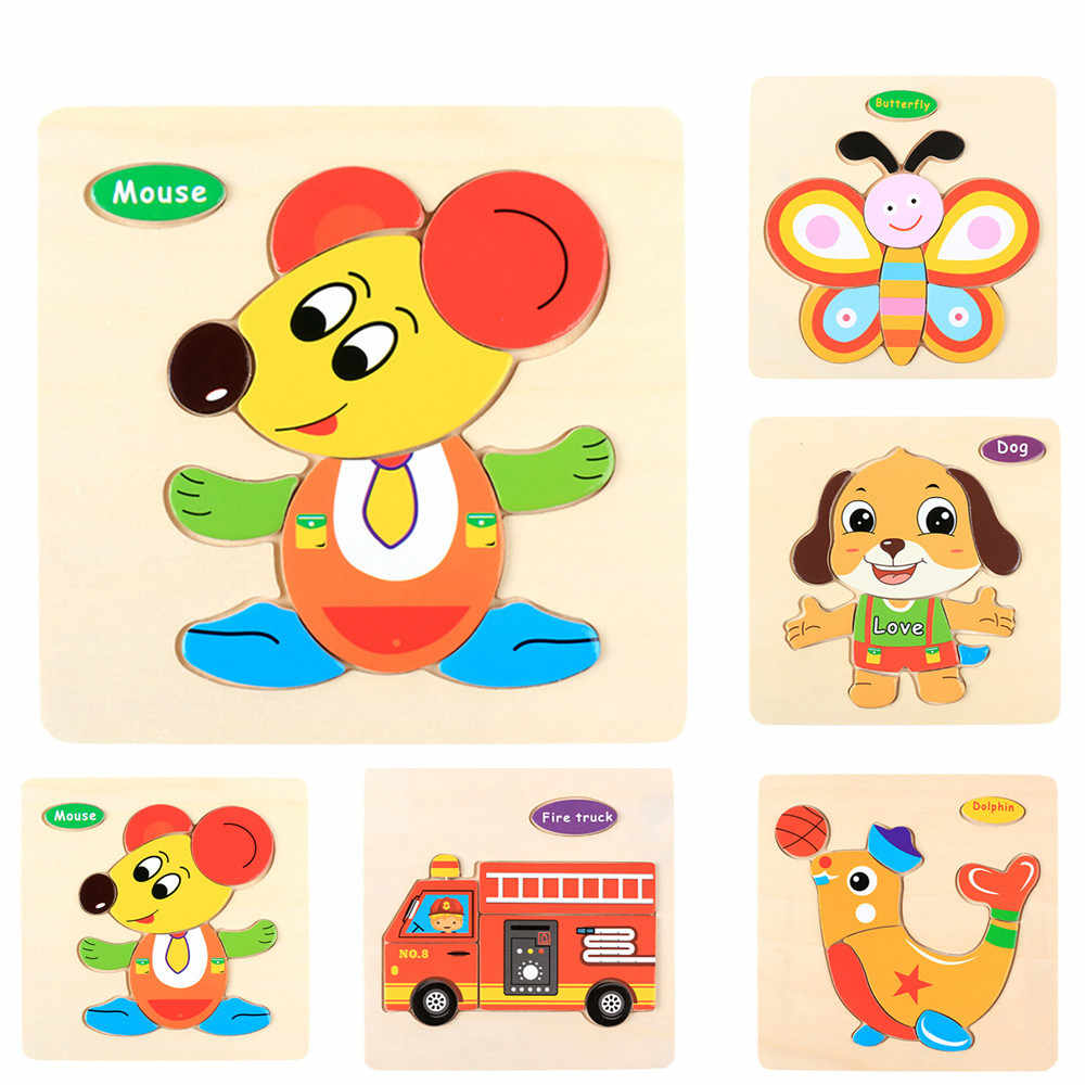 Kids Three-Dimensional 9Colorful Wooden Puzzle Educational Toys Developmental Baby Toy Child Early Training Game For Kids#D6