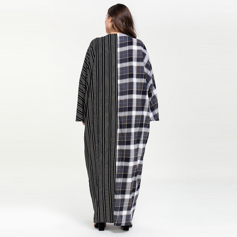Image 2 - Plus Size Women Plaid Patchwork Striped Pocket Abaya Muslim Dress