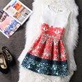 2016 Vestido de La Manera Mujeres Retro Cuello Redondo de Impresión Sin Mangas Vestido de Las Mujeres vestidos de Fiesta vestidos Sexy Vestido de Gran Tamaño de Tocar Fondo