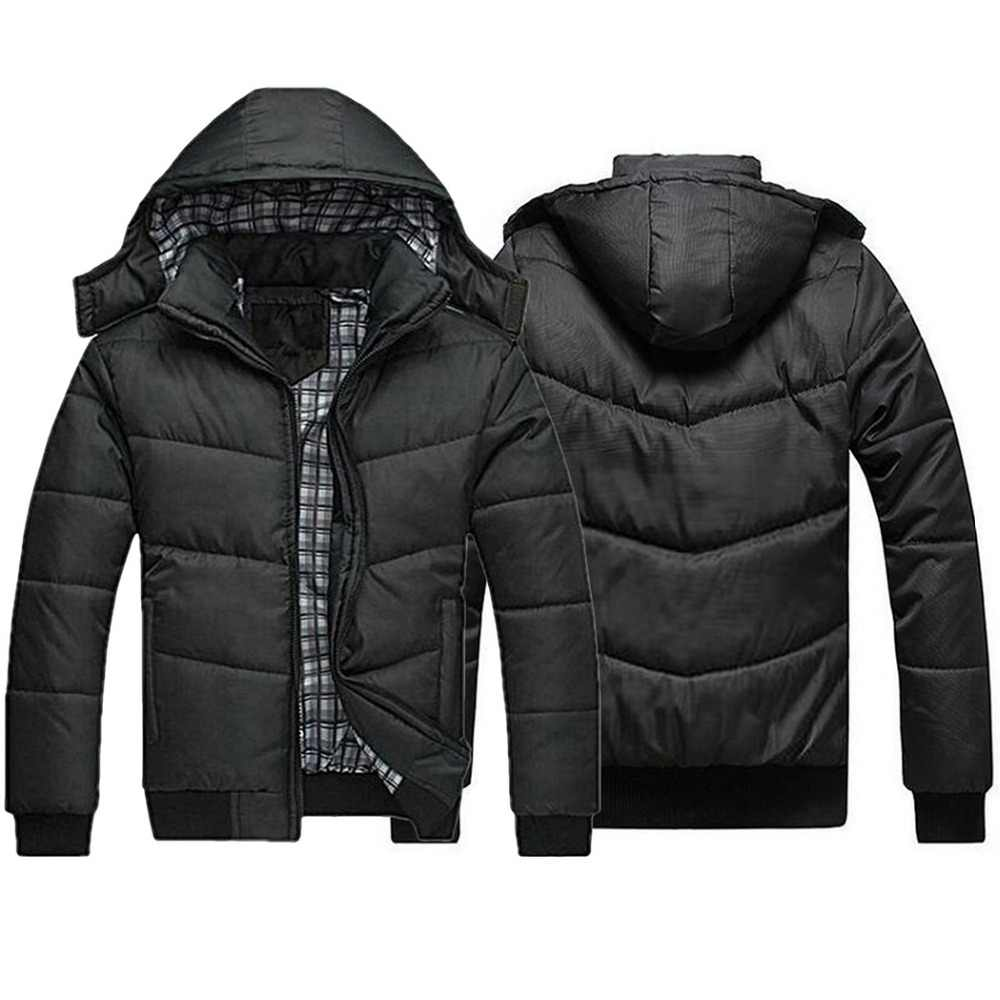 Plus Size Casual Hooded Coats Men Black Jackets Zipper Quilted Jacket Padded Outwear Warm Winter Coat Casual Overcoats Male New