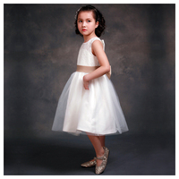 ELLIE S BRIDAL Girl Lace White Back After The Hollow Satin Bow Dress 8 9Y