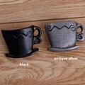 Retro criativo xícara de café móveis puxadores de prata antigo sapato gaveta puxadores puxa maçanetas puxadores da cômoda preto