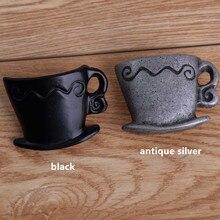 retro creatIve coffee cup furniture knobs antique silver drawer shoe cabinet knobs pulls black dresser door handles knobs