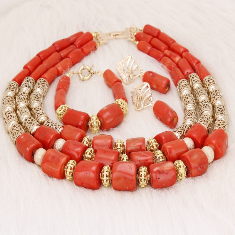 Dudo Store African Coral Beads Sets For Weddings 2019 Newest 3 Rows Genunie Coral Set For Edo Bridal Traditional Weddings Chunky