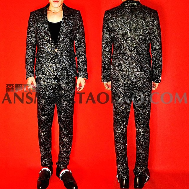 Nightclub Bar Male Singer Blazer Dj With The Style Suit Men Fashion Stunning Bronzing Flash Drill Jackets Coats Costumes