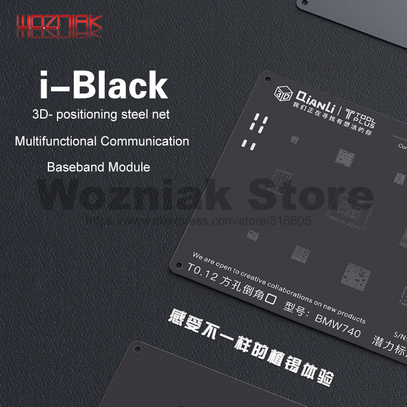 QIANLI 3D Black Steel Net For Iphone 8p 8 7p 7 6sp 6p 6s 6 5s 5 Universal Communication Baseband Module Tin Planting Repair Mesh