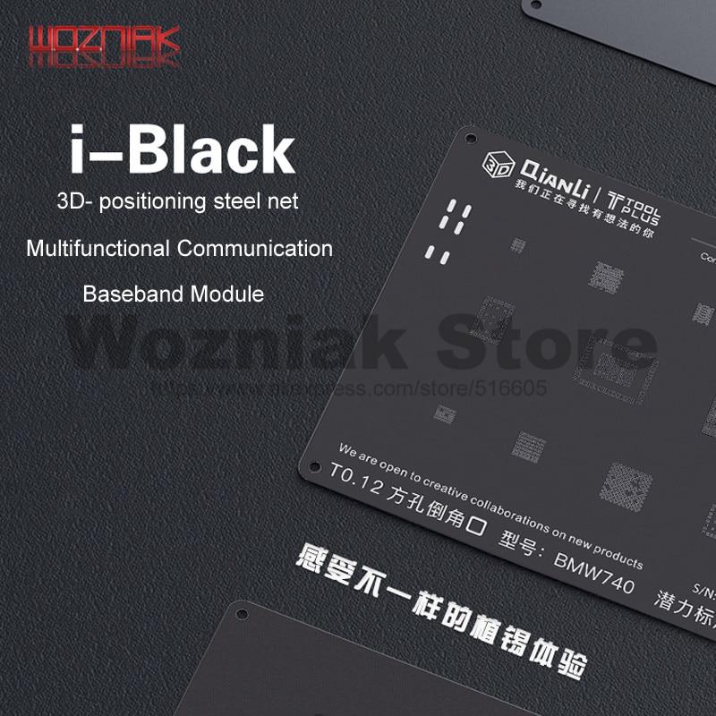 QIANLI 3D Black Steel Net for iphone 8p 8 7p 7 6sp 6p 6s 6 5s 5 Universal Communication Baseband Module Tin planting repair mesh