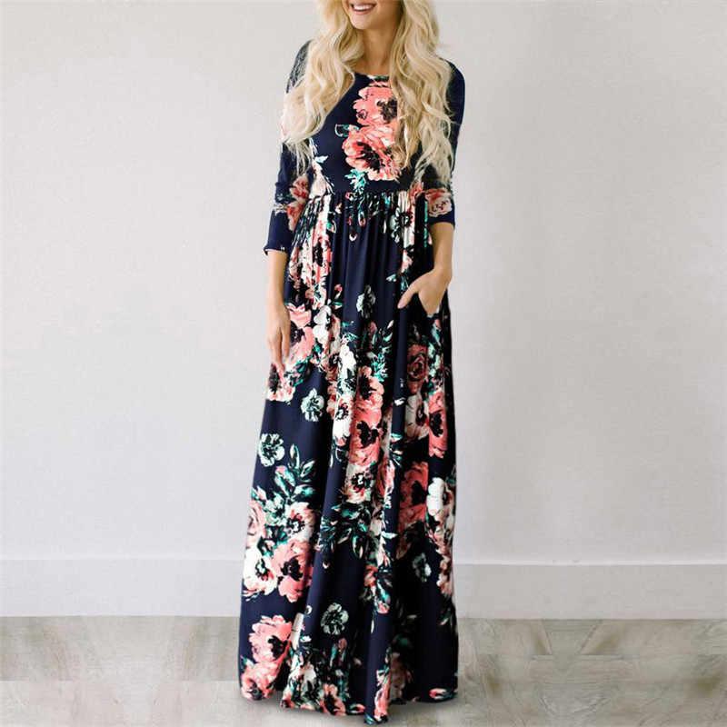2019 été longue robe imprimé Floral Boho plage robe tunique Maxi robe femmes soirée robe de soirée robe d'été robes de festa XXXL