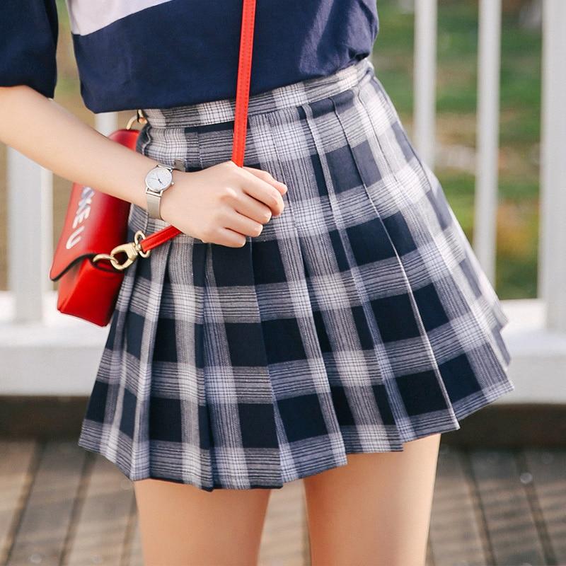 Korean Insittute Wind Blue Plaid Mini Pleated Skirt Summer 2019 New