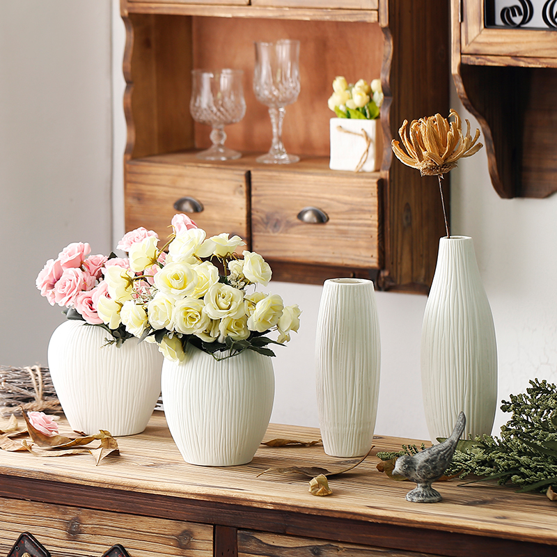 Us 15 0 Off Antique Ceramic Wedding Decorative Vase Modern White Artificial Flower Tabletop Small Decoration Vases In