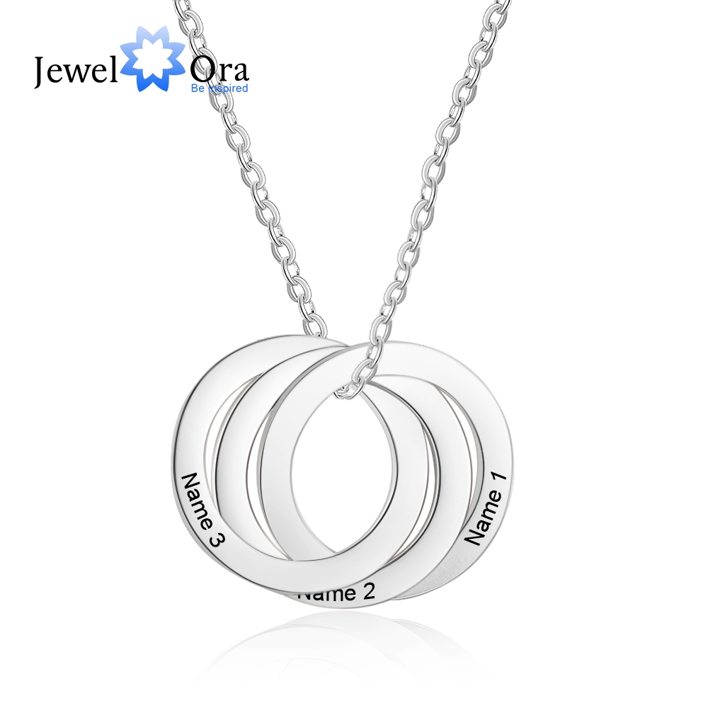 Personalized Name Necklaces For Women Custom Stainless Steel Triple Circle Necklaces & Pendants Anniversary Gift (NE103036)