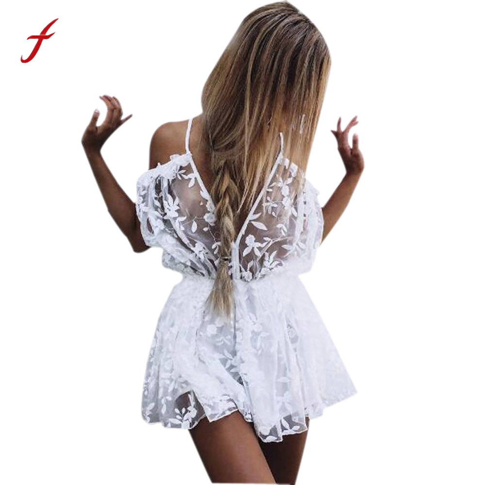 ca1ac7e41c4 Feitong Summer Womens Sexy Playsuits See Through Lace Playsuit Ladies  Plunge Holiday Short Jumpsuit Overalls combinaison