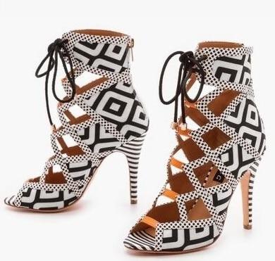 Newest Printing Open Toe High Heel Sandal Fashion Women Summer Thin Heels Shoes Cross-tied Shallow Rome Party Shoes браслет chantal браслет