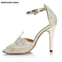 מותג בלינג נעלי חתונה סנדלי נשים סנדלי קיץ לנשים עקב גבוה נעלי הבהונות נעלי כלה שמלת גודל גדול 42