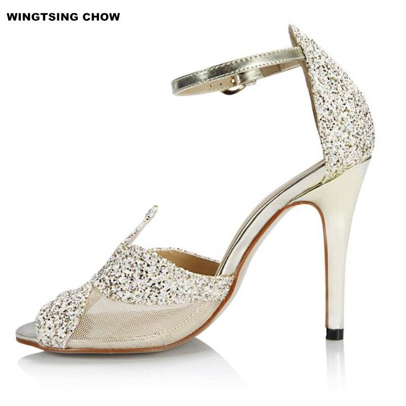 Marque Bling chaussures de mariage femmes sandales orteils ouverts chaussures d'été femmes chaussures à talons hauts mariée robe grande taille 42